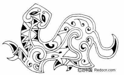 中国古典图案-抽象几何形的龙图片