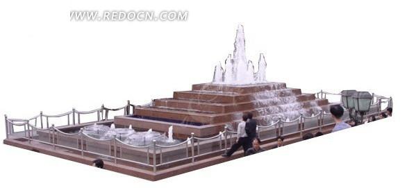 阶梯式喷水池效果图图片