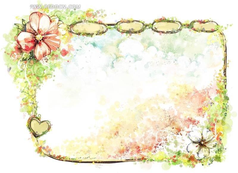 彩绘花纹边框相册素材