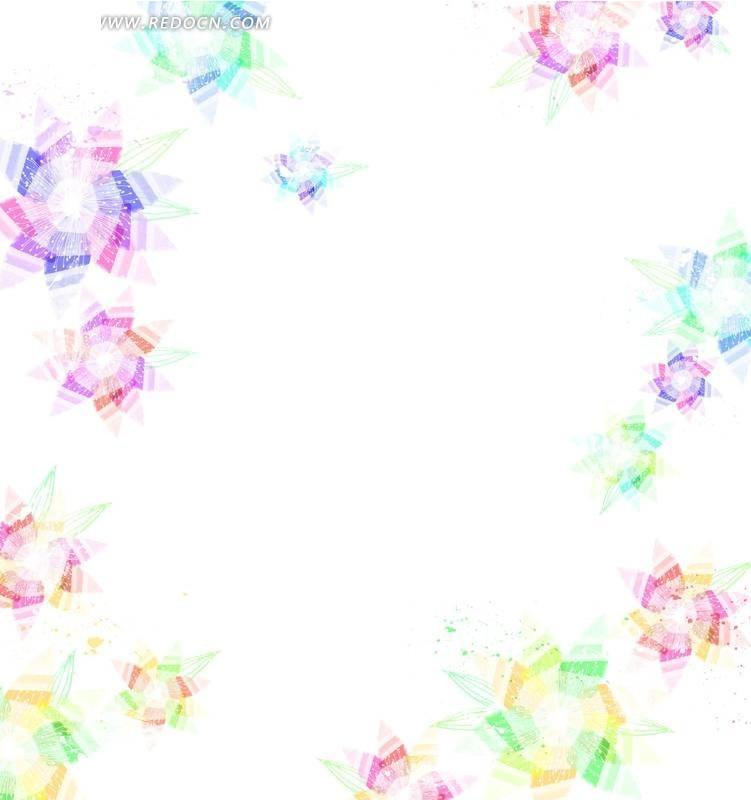 七彩星星花卡通手绘