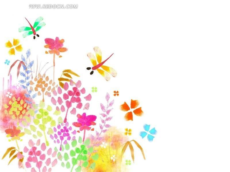 可爱手绘风格蜻蜓花草素材psd