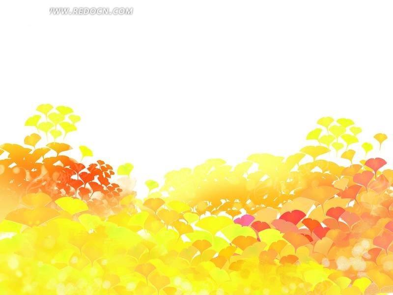 银杏树叶材质贴图-五彩银杏叶插画PSD分层素材
