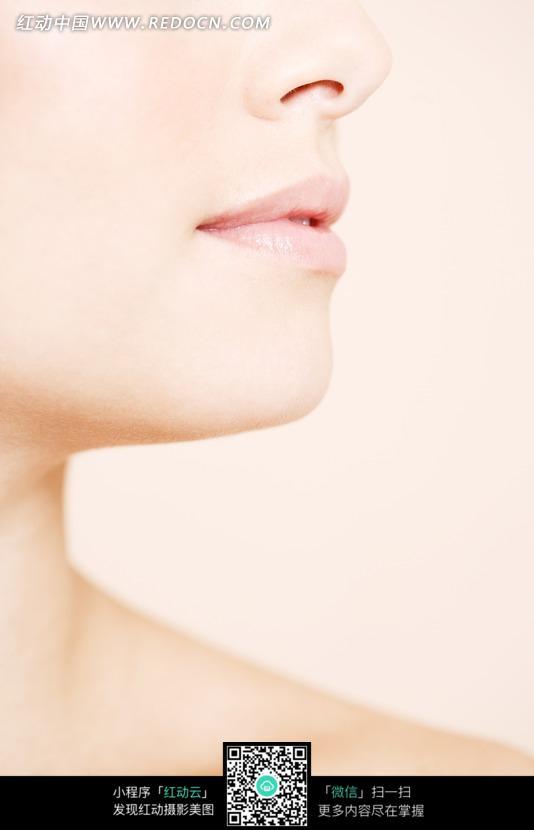 侧脸的女人的嘴唇和鼻子
