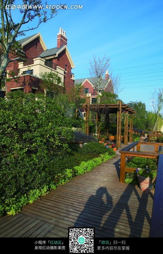 三角形屋顶的房屋和庭院里的花草树木