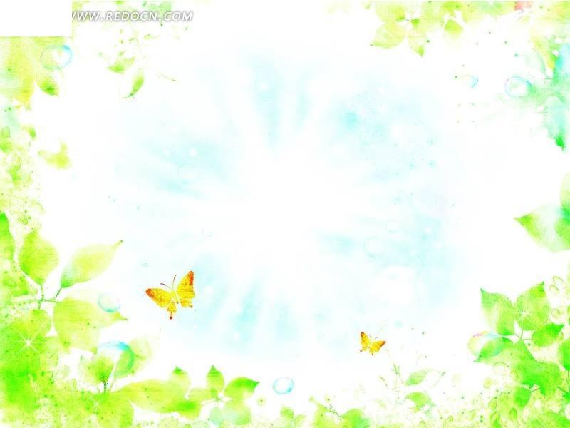 蝴蝶树叶水彩画psd素材