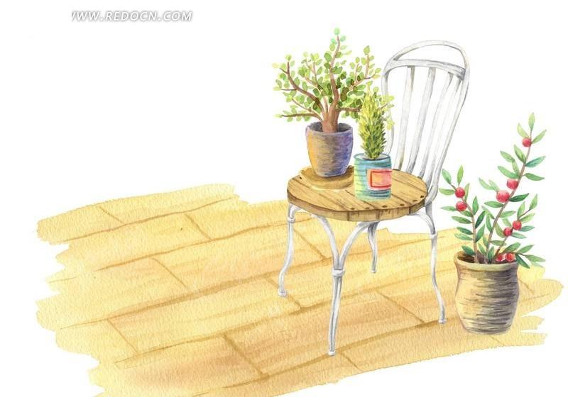 手绘椅子上的盆栽小花PSD素材