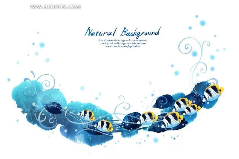 手绘蓝色海底鱼儿psd背景素材