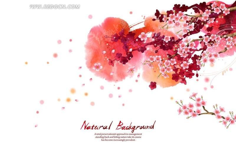 花纹 手绘 psd 花纹背景 背景素材 梅花 花瓣 红色 唯美  psd素材 psd