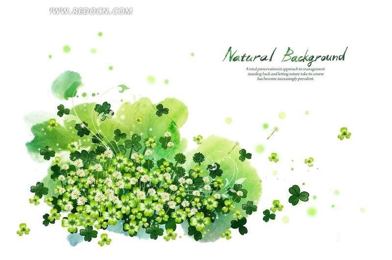 花纹 手绘 白色小花 花朵 四叶草 绿色背景 psd 花纹背景  psd素材图片
