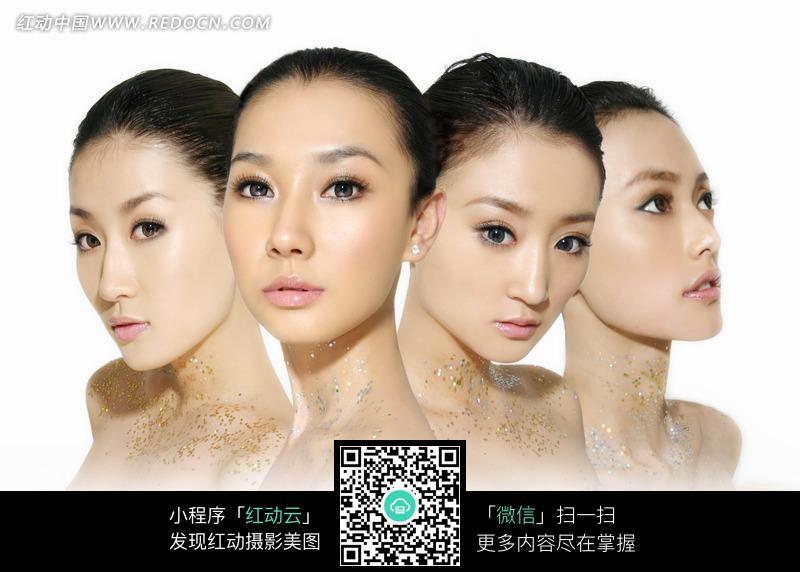 四个女人的面部特写图片