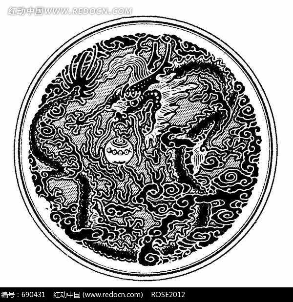 您当前访问素材主题是中国古典图案-玩火球的龙和云纹构成的圆形图案