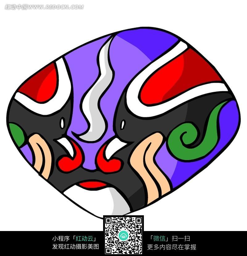 紫色的菱形的京剧脸谱