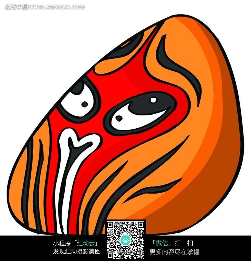圆的橙色孙悟空脸谱图片 传统书画 吉祥图案 艺术图片下载 693423