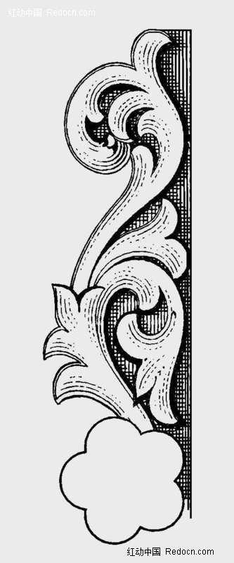欧式古典黑白花纹花边图案素材