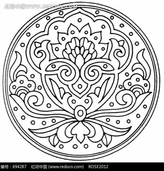 卷曲纹花瓣构成的圆形图案图片