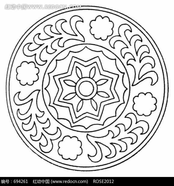花朵 叶子拼成的黑白圆形图案图片