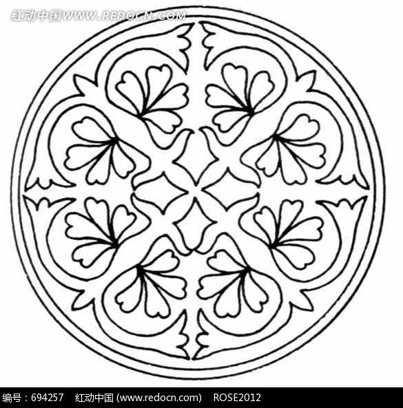 花朵和叶子拼成的圆形图案图片图片