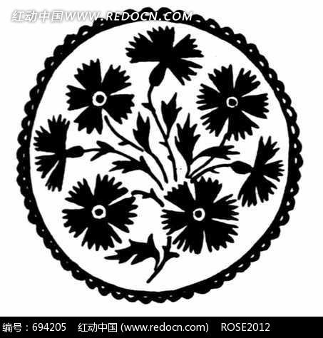 圆形传统花卉图案素材图片