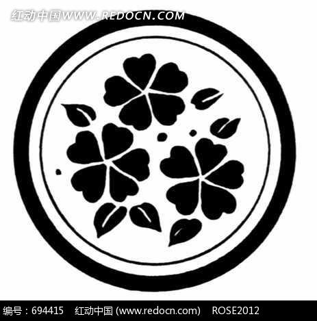 圆圈里的三朵花黑白色图纹图片
