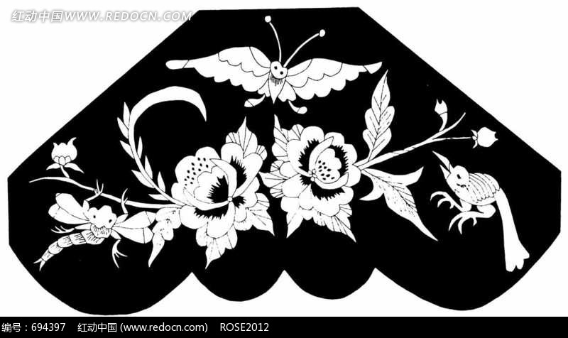 花朵 蜻蜓 飞鸟 蝴蝶构成的图案图片