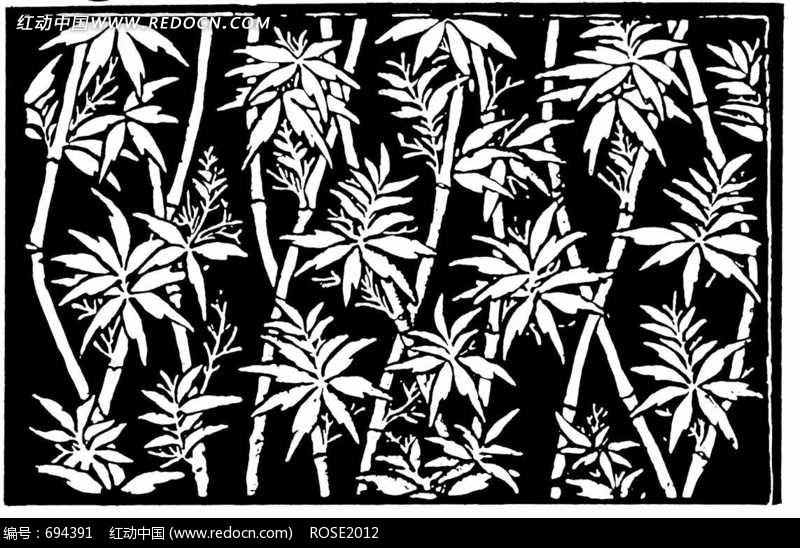黑白竹子花纹图片素材