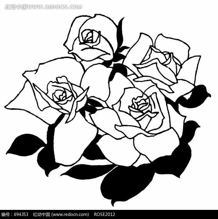 玫瑰花拓印 插画 拓印 手绘风格 线描 线稿 植物 图片素材 jpg 花纹
