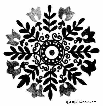 经典黑白雪花图案素材