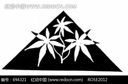 三角形和掌状七裂叶子构成的图案图片图片