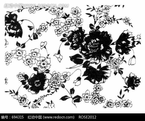 牡丹/小花/叶子构成的黑白图案