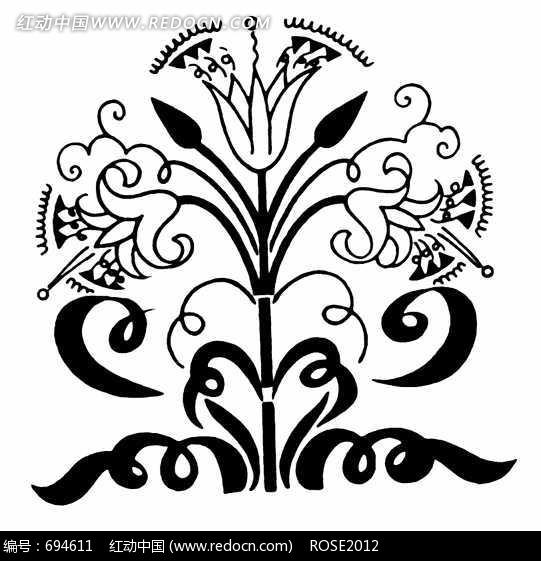对称的现代花卉图案图片