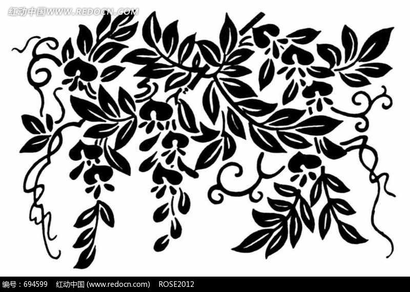 黑白藤蔓花纹图片