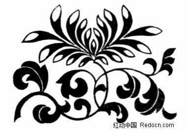 菊花图案 手绘 黑白 jpg图片素材 花纹 花纹素材 花边 花边素材