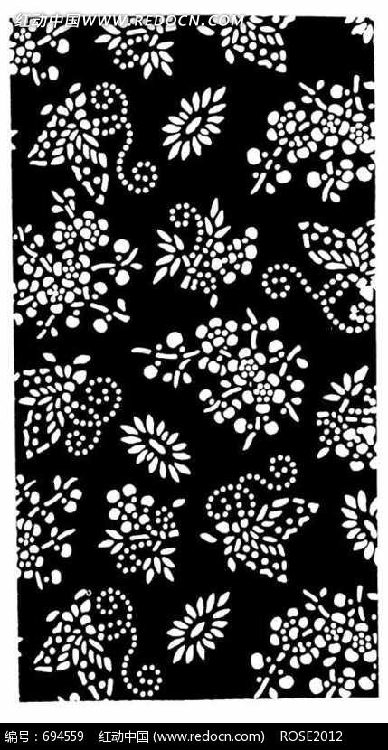 蝴蝶/梅花构成的黑白图案图片