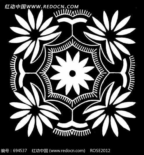 对称花卉 中华剪纸 窗花 艺术 古代神话 图片素材 jpg 花纹 花纹素材