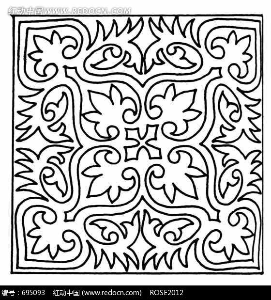 剪纸图案线条窗花规则纹样线条叶脉;