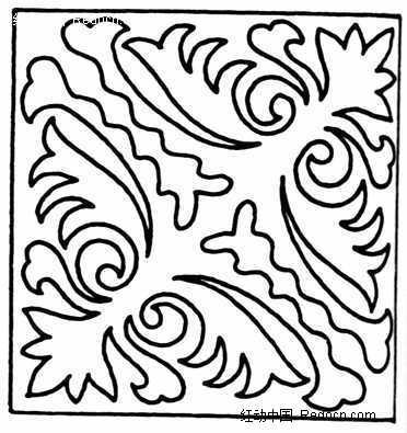 手绘方形花草对称图案图片