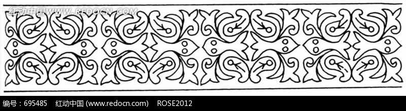 长条形对称的花卉图案
