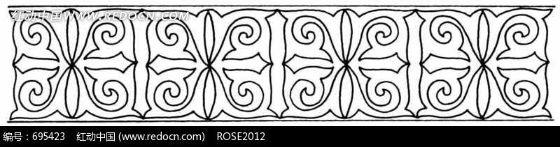 卷叶花纹二方连续黑白图案图片