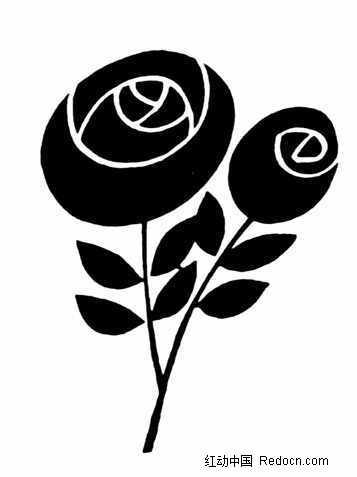 抽象玫瑰花与叶子黑白图案_花纹花边图片