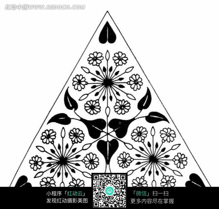 现代花纹黑白图案(三角形)