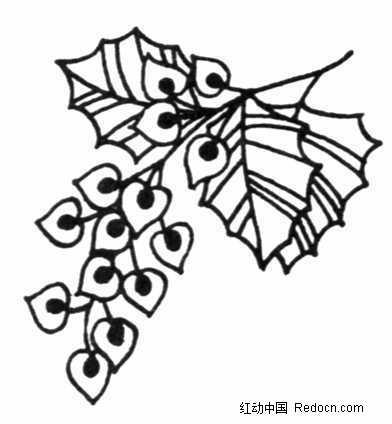 单色线条心形花朵装饰画jpg图片_花纹花边图片