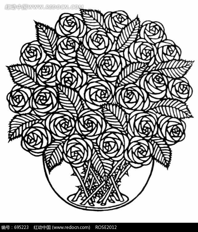 花瓶里的玫瑰花花束黑白图案