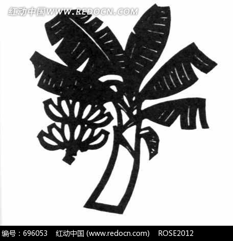 香蕉树黑白图案