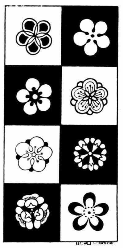 黑白格子背景简笔画花朵花纹图片图片
