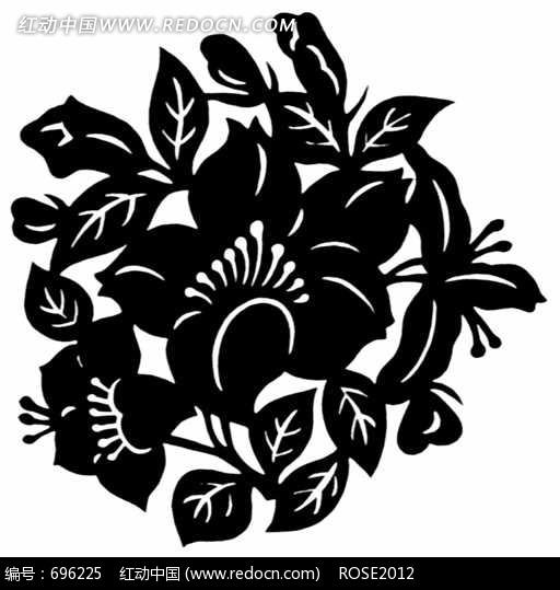黑白剪纸花朵图片图片