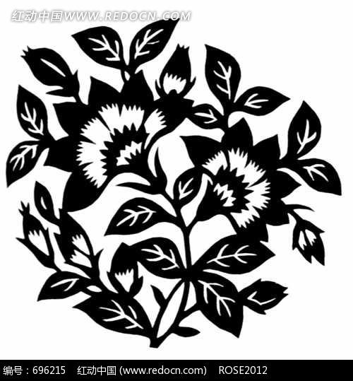 黑白简笔画植物