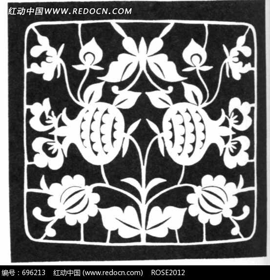 黑白传统剪纸花纹图案图片图片