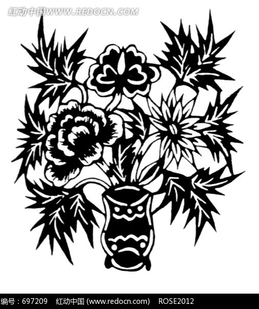 花纹 花纹素材 花边 花边素材  插画 花朵 黑白 图案 植物 花瓶