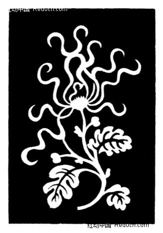 植物图案花纹;; [jpg]  黑白反白抽象菊花图案素