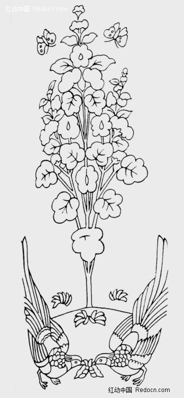 背景花边 花纹花边 中间对称图案设计-小鸟花儿  请您分享: 红动网